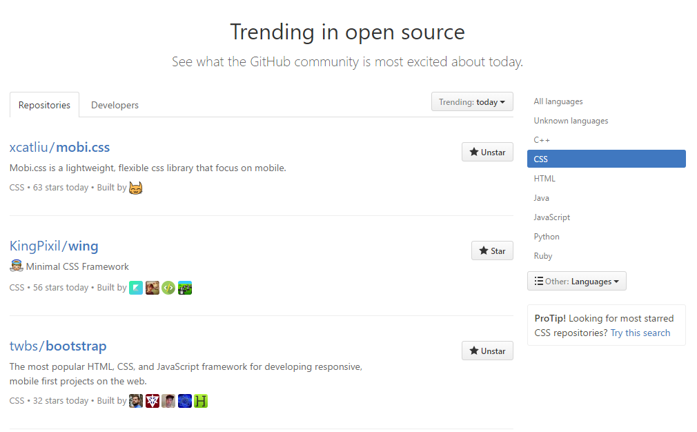 GitHub Trending CSS Top 1