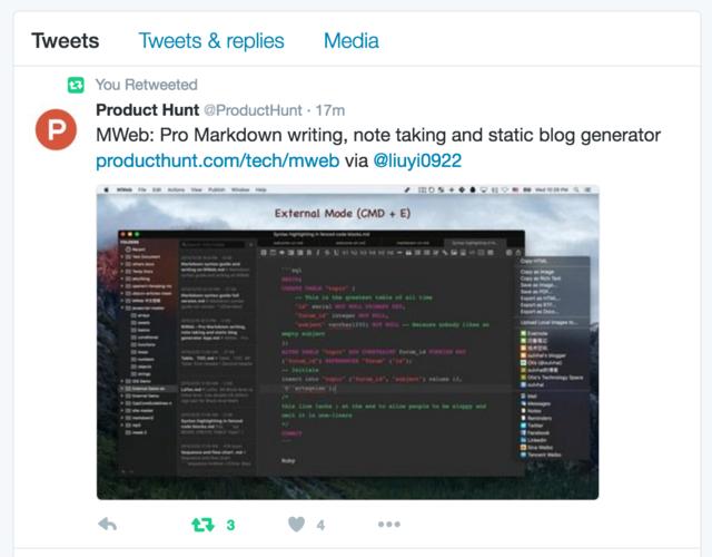 MWeb 上了 Product Hunt 首页